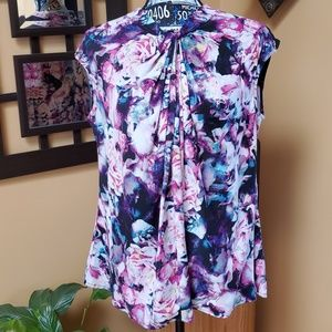 WORTHINGTON FLORAL PRINT KNOTTED TANK TOP!